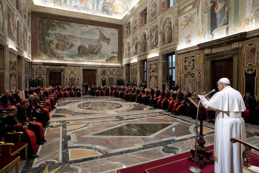 Pope Francis speaks during the traditional greetings to the Roman Curia in the Sala Clementina (Clementine Hall) of the Apostolic Palace, at the Vatican, December 21, 2019. ― Reuters pic