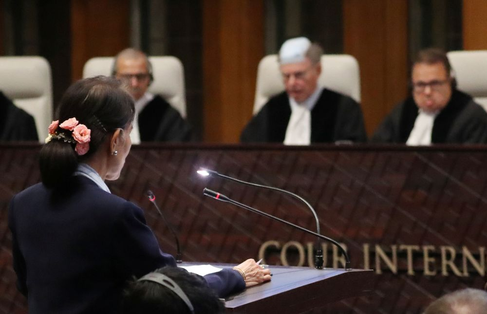 Myanmar's leader Aung San Suu Kyi speaks in front of the judges on the second day of hearings in a case filed by Gambia against Myanmar alleging genocide against the minority Muslim Rohingya population, at the International Court of Justice (ICJ) in The Hague, December 11, 2019. — Reuters pic