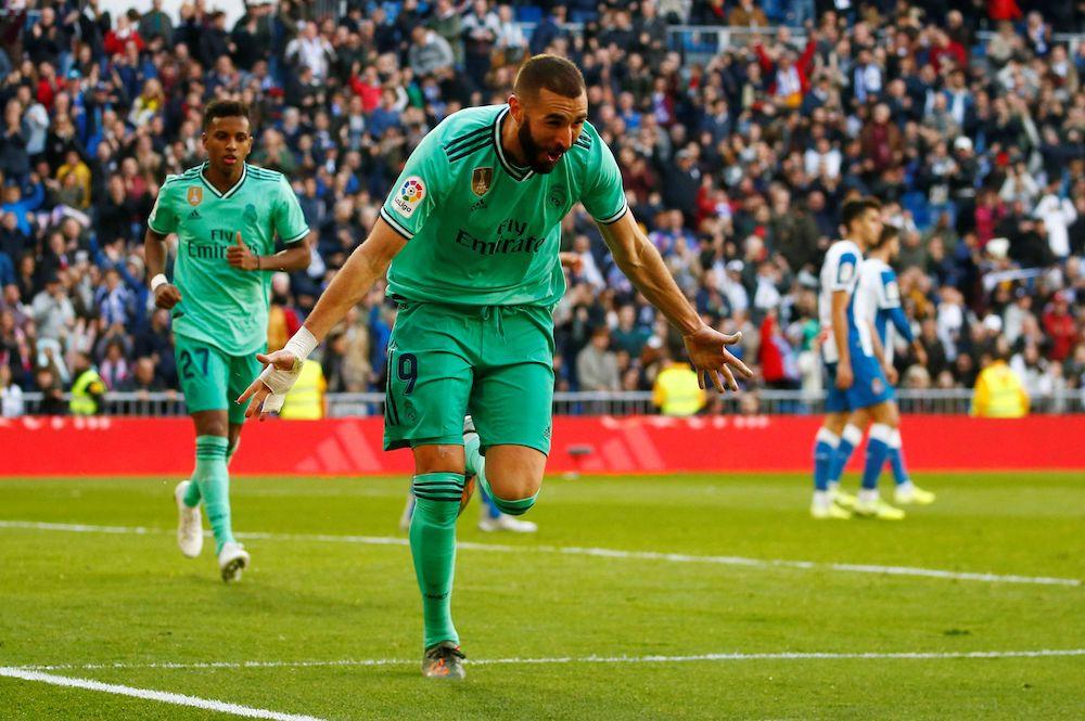 Real Madrid's Karim Benzema celebrates scoring their second goal against Espanyol at the Santiago Bernabeu, Madrid, December 7, 2019. — Reuters pic