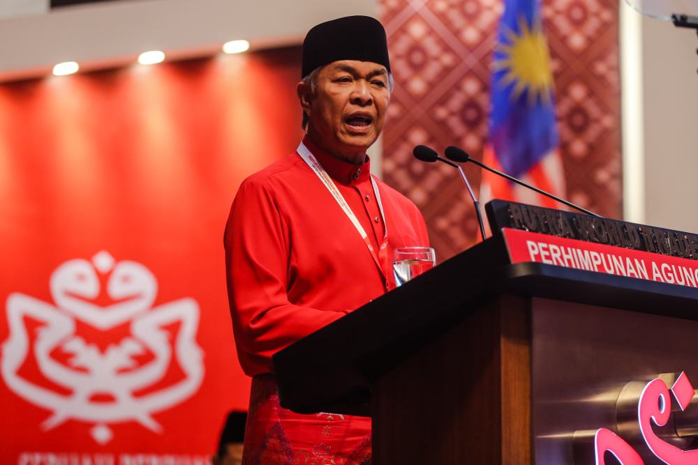 Umno president Datuk Seri Ahmad Zahid Hamidi speaks during the 2019 Umno General Assembly in Kuala Lumpur December 6, 2019. ― Picture by Firdaus Latif