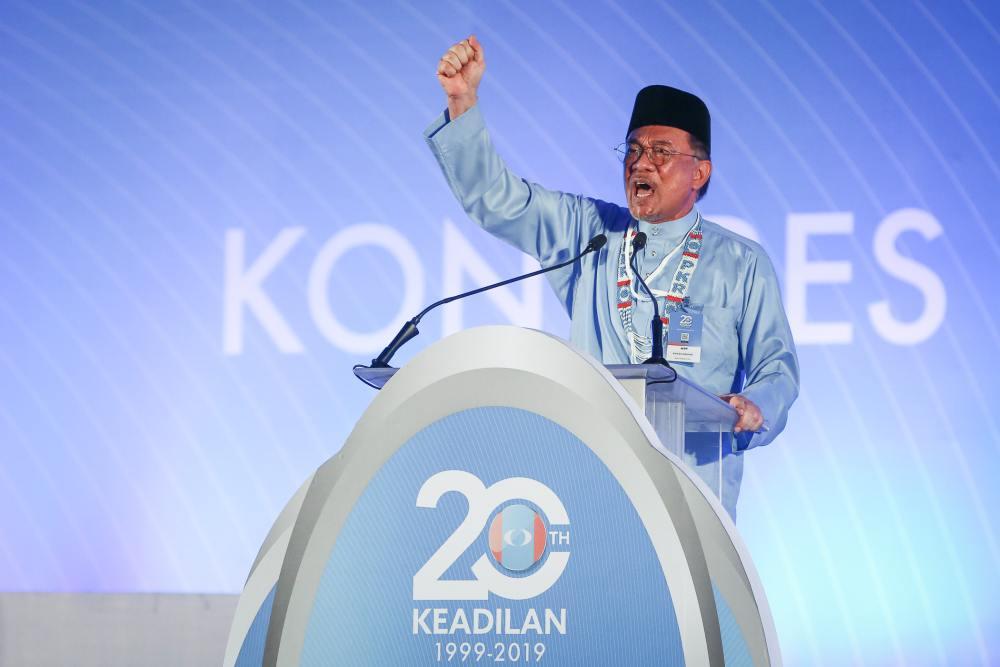 PKR president Datuk Seri Anwar Ibrahim deliver his speech during the 2019 PKR National Congress in Melaka December 7, 2019. ― Picture by Yusof Mat Isa