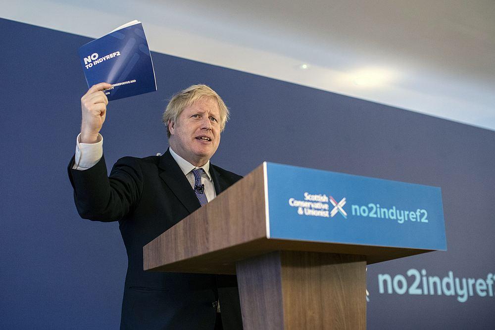 British Prime Minister Boris Johnson launches the Conservative Party Scottish Manifesto in North Queensferry, Scotland November 26, 2019. — Dan Kitwood/Pool pic via Reuters