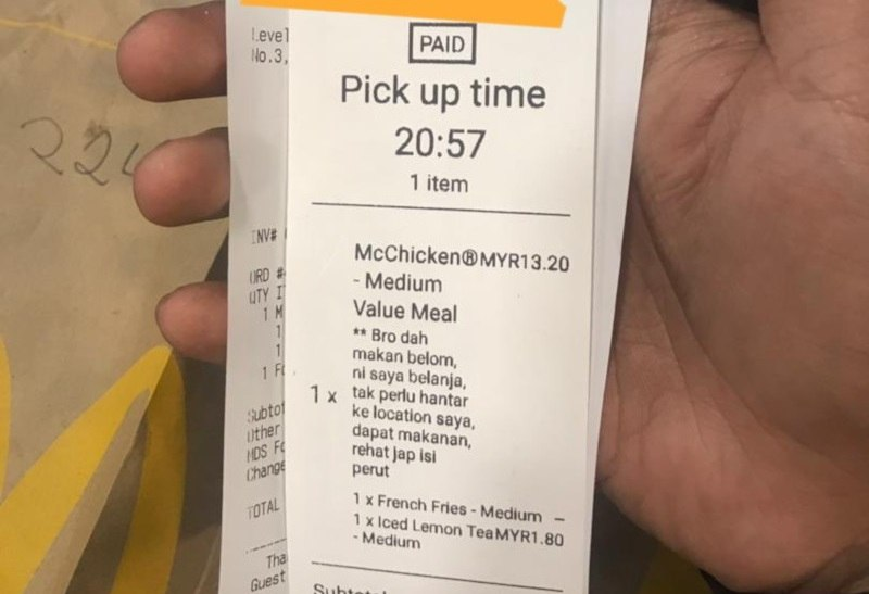 The kind man from Ipoh ordered a McDonald's value meal for the food delivery rider, asking him to rest and replenish his energy. ― Picture via Twitter/@danialrafiqq