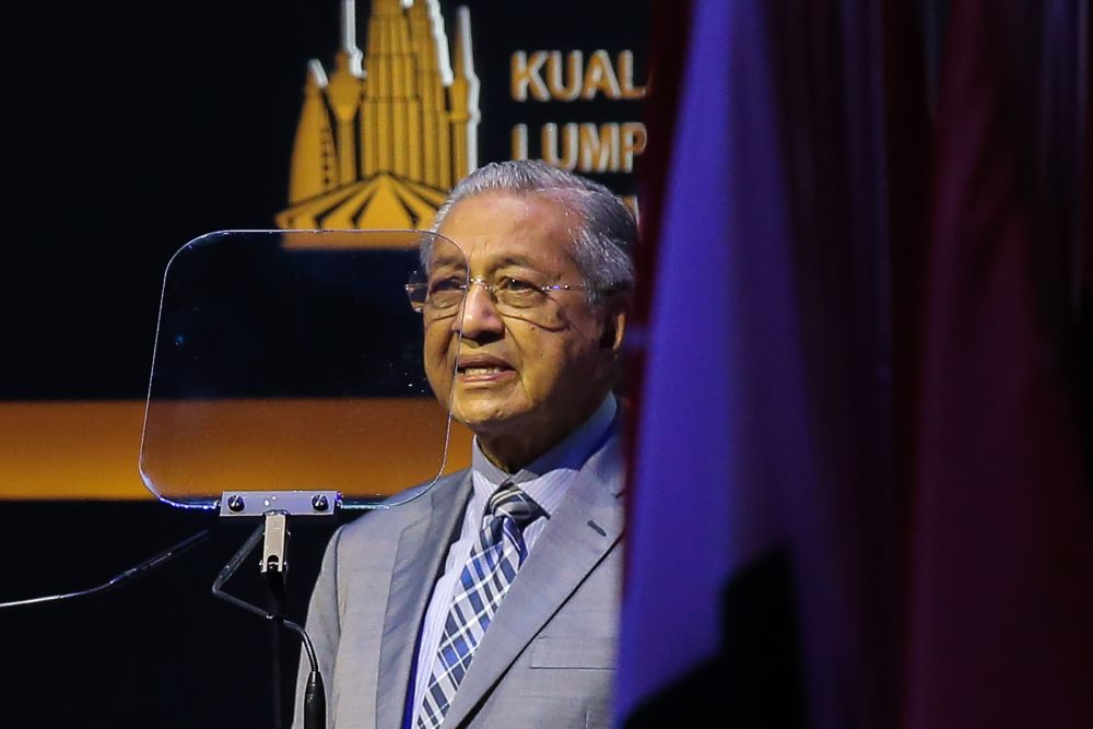 Prime Minister Tun Dr Mahathir Mohamad speaks at the Kuala Lumpur Summit 2019 in Kuala Lumpur December 21, 2019. ― Picture by Miera Zulyana