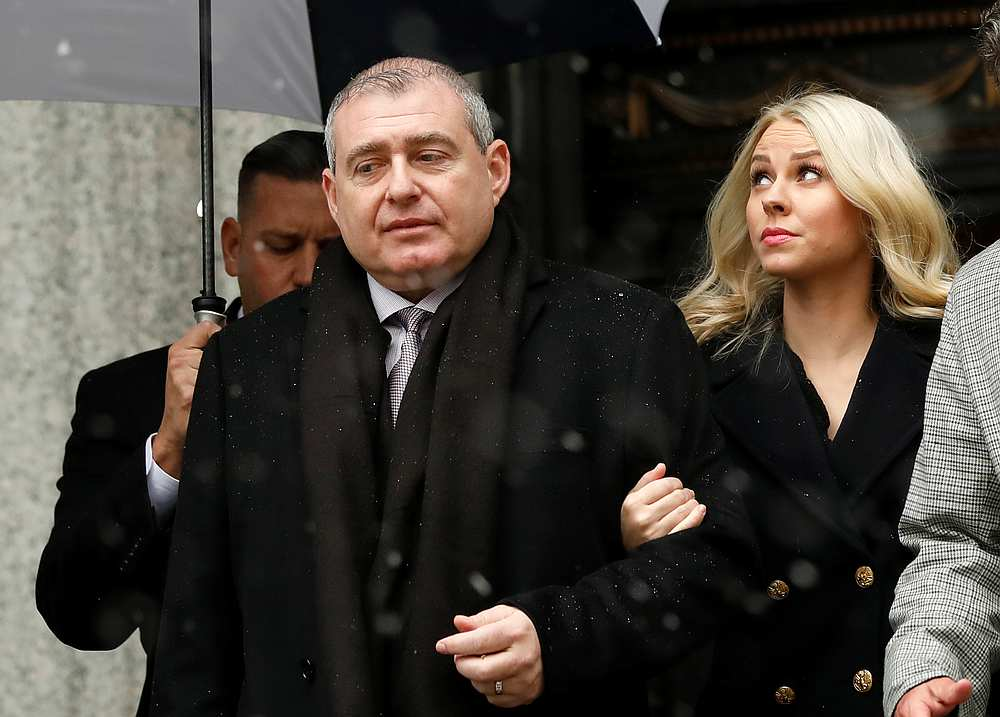 Ukrainian-American businessman Lev Parnas and his wife Svetlana arrive at US Courthouse in  New York December 2, 2019. — Reuters pic