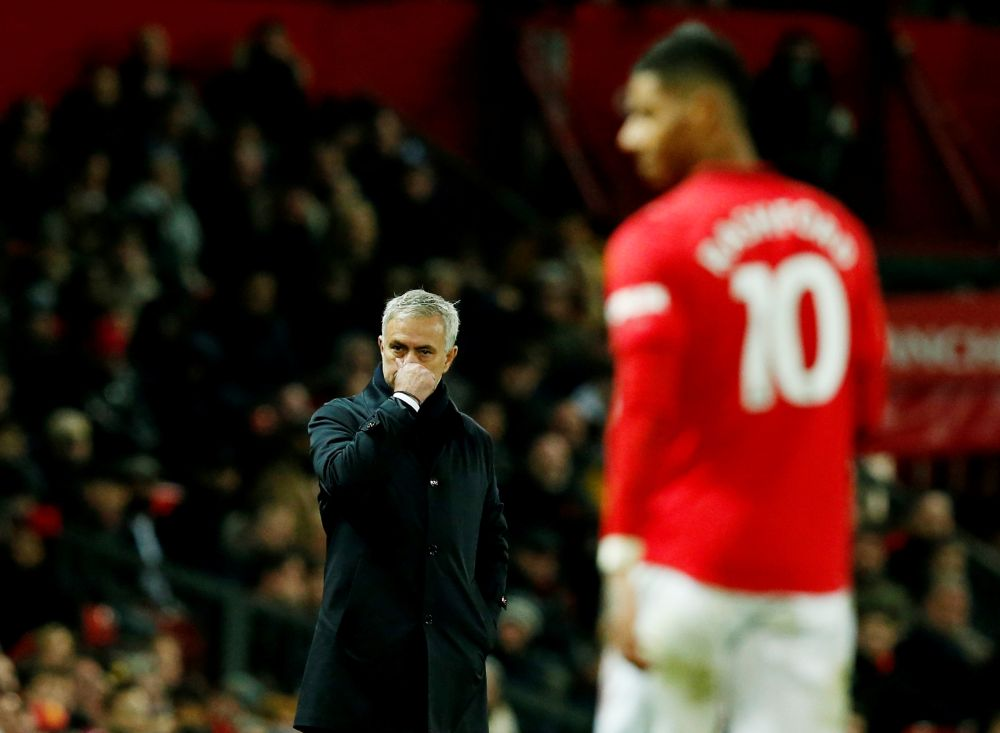 Tottenham Hotspur manager Jose Mourinho reacts during the match against Manchester United. — Reuters pic