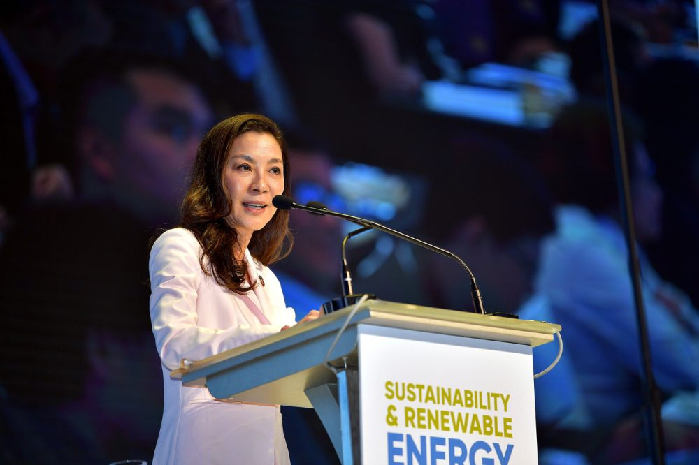 Tan Sri Michelle Yeoh speaks during a forum on sustainability and renewable energy in Kuching December 10, 2019. ― Bernama pic
