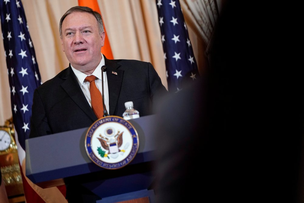 US Secretary of State Mike Pompeo speaks to the media after the 2019 US-India 2+2 Ministerial Dialogue at the State Department in Washington December 18, 2019. ― Reuters pic