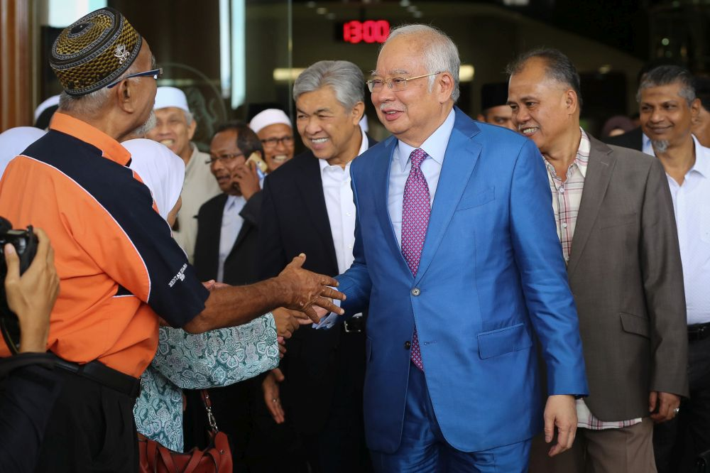 Former prime minister Datuk Seri Najib  Razak is pictured at the Kuala Lumpur High Court Complex during a break in proceedings December 3, 2019. — Picture by Yusof Mat Isa