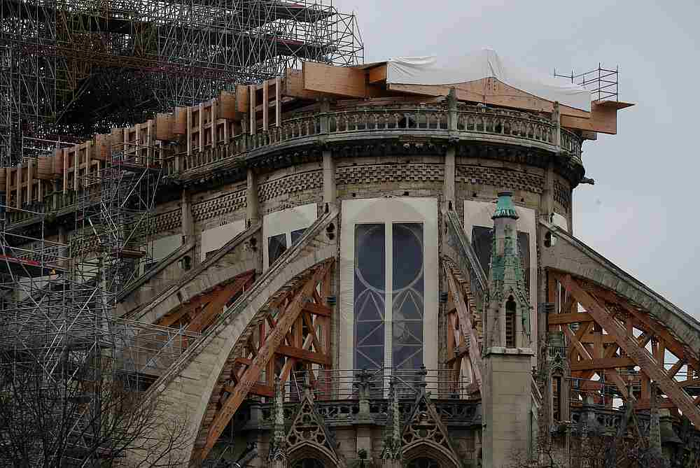 General view shows the Notre Dame Cathedral, as works continue to stabilise the cathedral's structure nine months after a fire caused significant damage, in Paris, France December 23, 2019. — Reuters pic