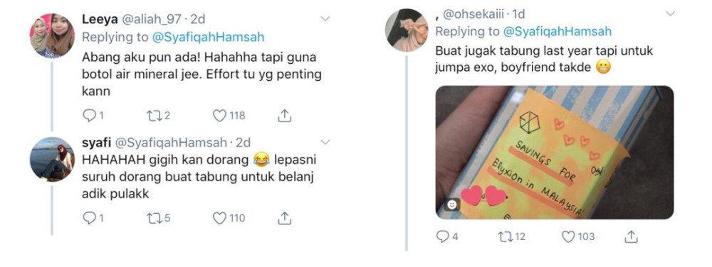 Syafiqah and other users joke about what else they could use piggy banks for. ― Screengrab via Twitter/@SyafiqahHamsah