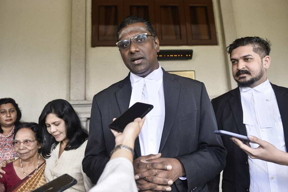 Lawyer RSN Rayer speaks to reporters outside the Kuala Lumpur High Court December 17, 2019.