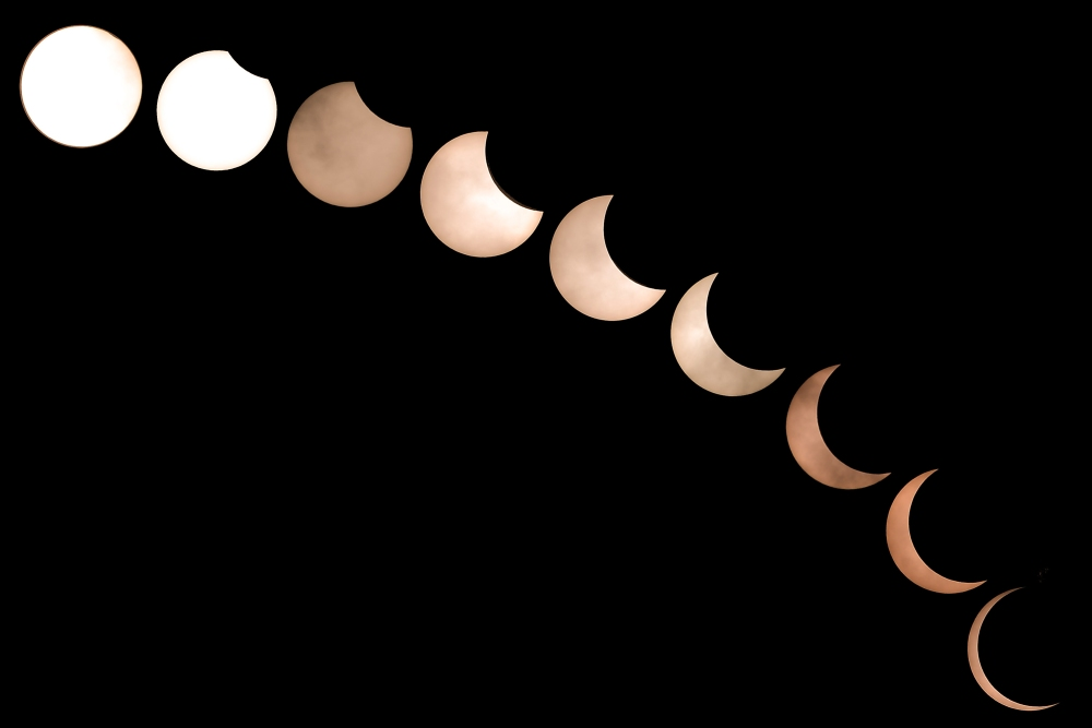 Superimposed images of the annular solar eclipse combing nine pictures in Shah Alam December 26, 2019. — Picture by Miera Zulyana
