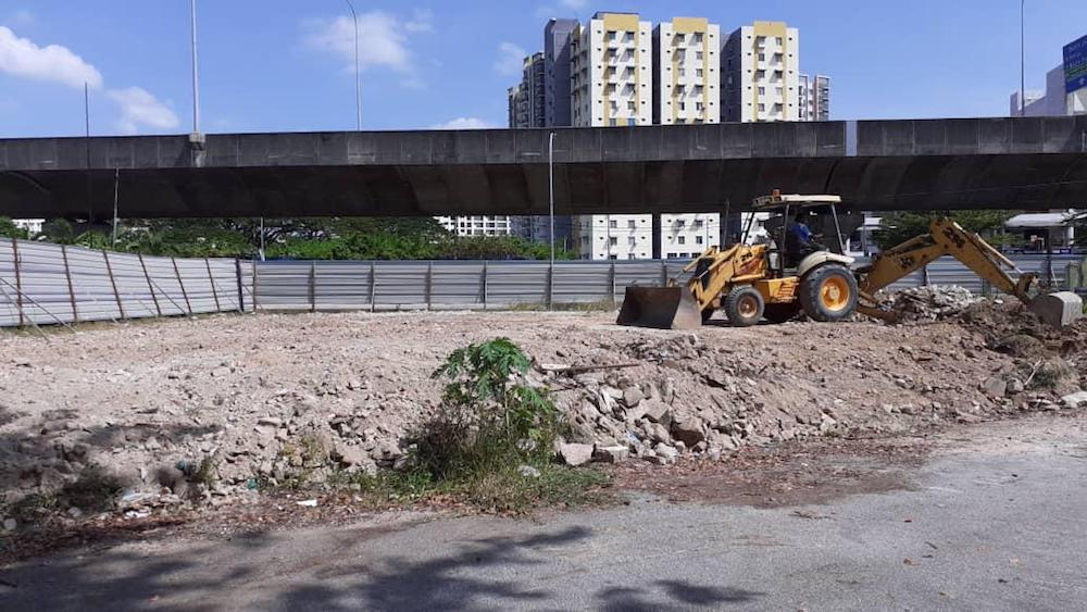 The site was cleared today to make way for construction to rebuild Sungai Nibong Besar Mosque. — Picture courtesy of Penang Deputy Chief Minister I's Office