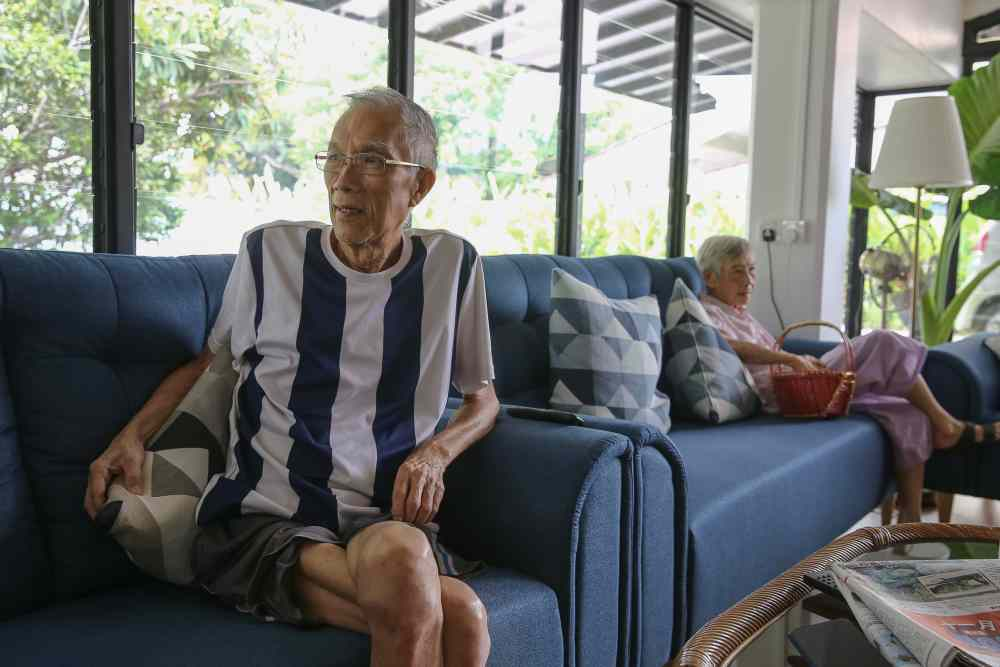 Raymond Low (left) is currently recuperating in The Mansion following surgery for intestine cancer. — Pictures by Yusof Mat Isa