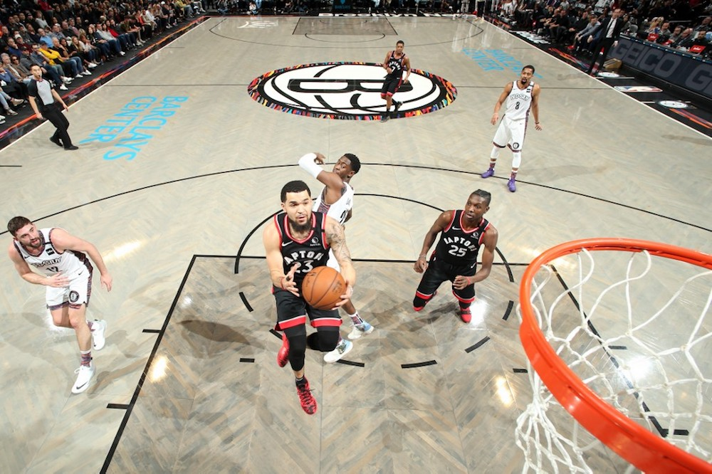 Fred VanVleet of the Toronto Raptors drives to the basket against the Brooklyn Nets at Barclays Centre in Brooklyn, New York January 4, 2020. — AFP pic