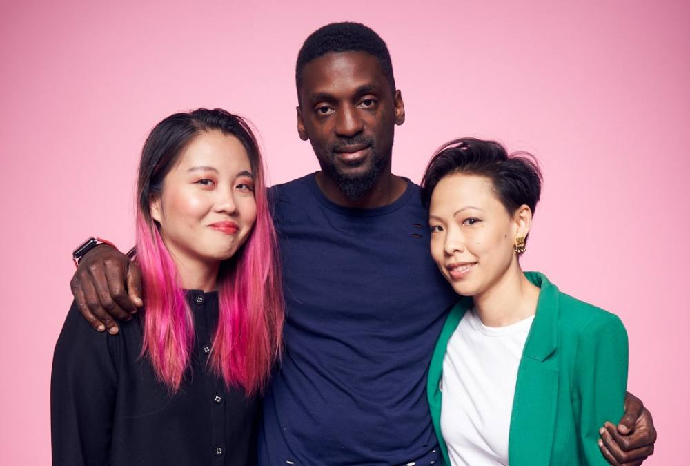 Malaysian film producers Cheyenne Tan (left) and Teng Poh Si (right) with American community activist Bruce Franks Jr. ― Picture courtesy of Teng Poh Si