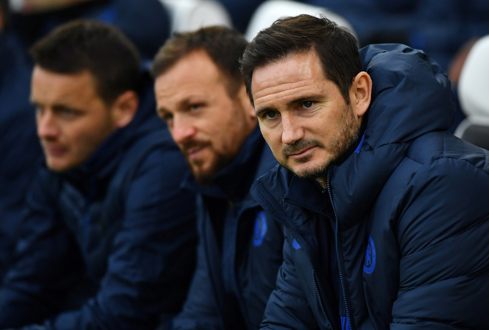 Chelsea manager Frank Lampard with assistant manager Jody Morris before the Premier League match with Brighton and Hove Albion at The American Express Community Stadium in Brighton January 1, 2020. — Reuters pic