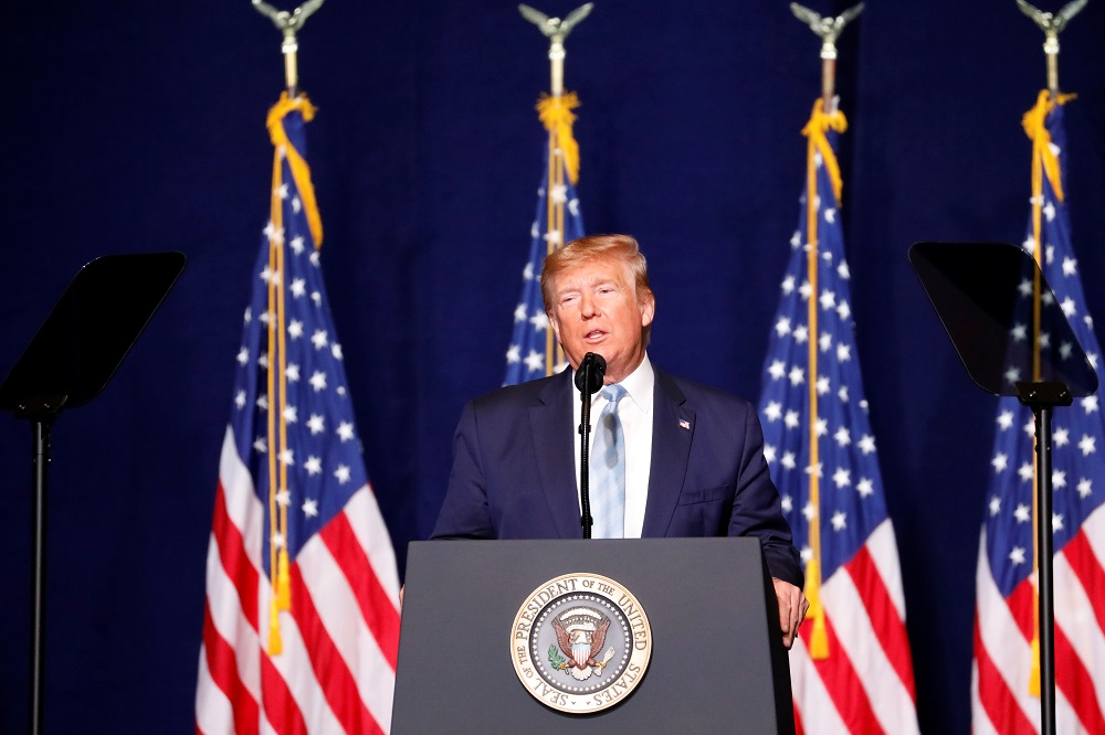 File photo of US President Donald Trump making a speech to evangelical supports in Miami, Florida January 3, 2020. — Reuters pic