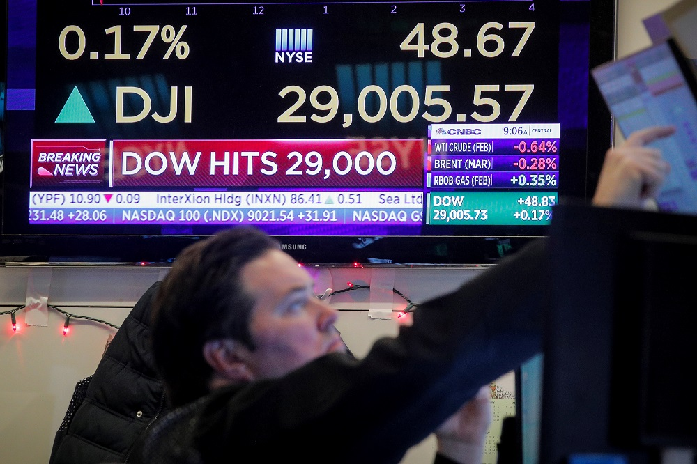 The major US stock indices traded little changed, but bourses in Europe fell as a three-day rally ran out of steam. — Reuters pic