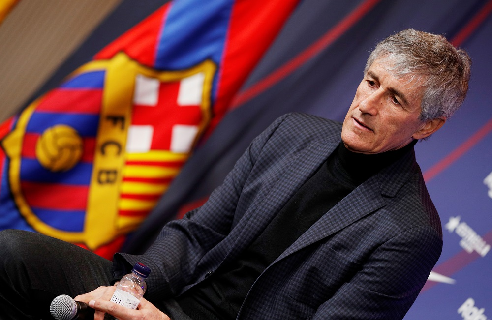 New FC Barcelona coach Quique Setien during a press conference at Camp Nou in Barcelona January 14, 2020. — Reuters pic