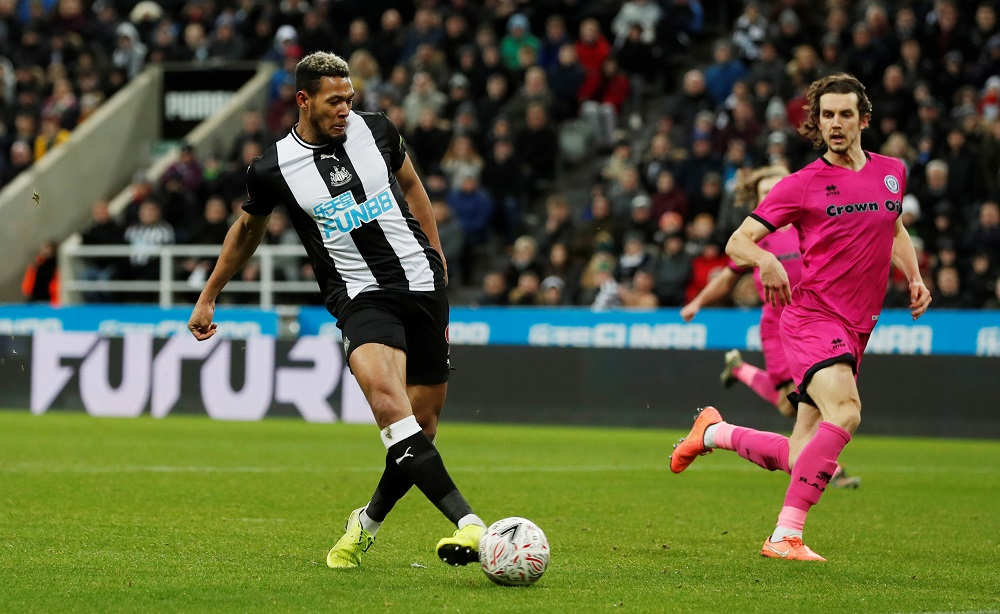 Newcastle United's Joelinton scores their fourth goal against Rochdale at St James' Park in Newcastle January 14, 2020. — Action Images via Reuters