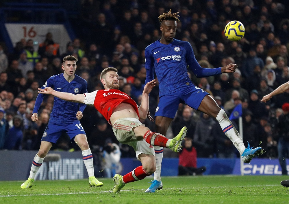 Arsenal's Shkodran Mustafi in action with Chelsea's Tammy Abraham at Stamford Bridge in London January 21, 2020. — Reuters pic