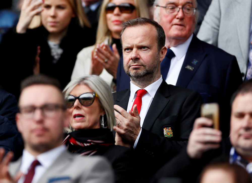 Manchester United executive vice-chairman Ed Woodward in the stands before the Premier League match with Huddersfield Town at John Smith's Stadium in Huddersfield May 5, 2019. — Reuters pic