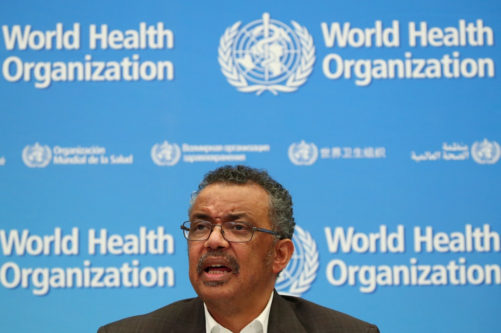 Director-General of the World Health Organization Tedros Adhanom Ghebreyesus speaks during a news conference after a meeting of the Emergency Committee on the novel coronavirus (2019-nCoV) in Geneva January 30, 2020. — Reuters pic