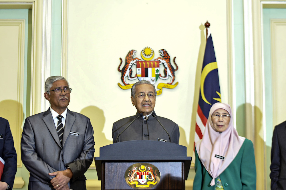 Prime Minister Tun Dr Mahathir Mohamad addresses a press conference in Putrajaya January 7, 2020. — Picture by Shafwan Zaidon