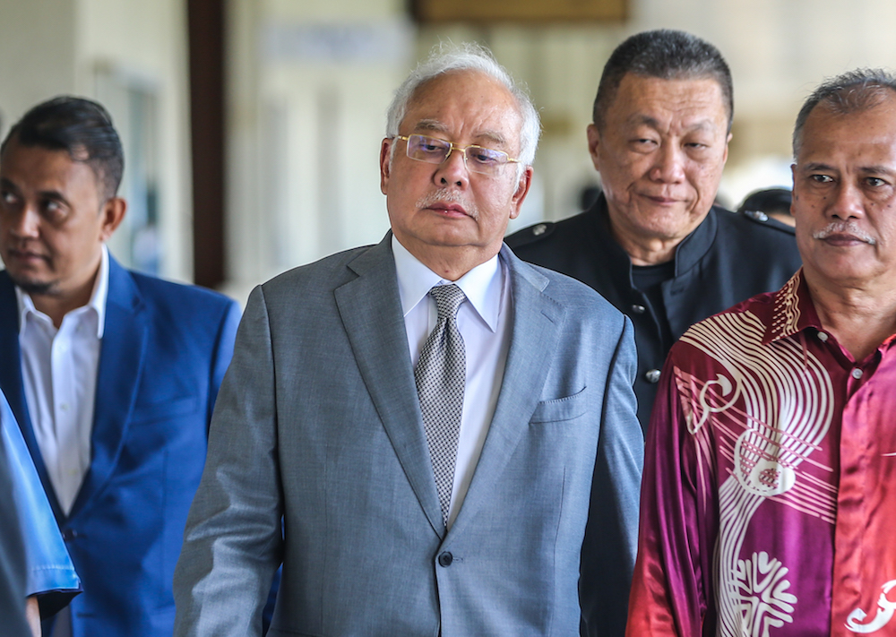 Former prime minister Datuk Seri Najib Razak is pictured at the Kuala Lumpur High Court January 8, 2020. — Picture by Firdaus Latif