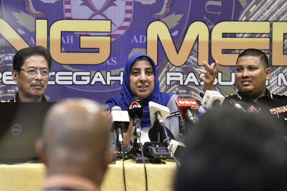 Malaysian Anti-Corruption Commission (MACC) chief commissioner Latheefa Koya speaks during a press conference at MACC headquarters in Putrajaya January 8, 2020. — Picture by Miera Zulyana