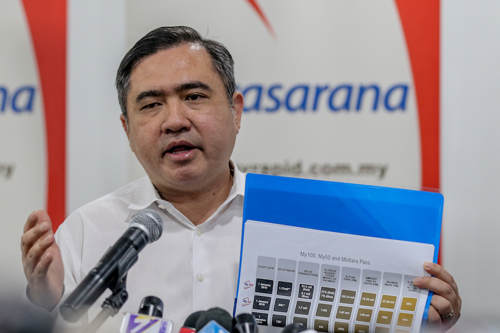 Transport Minister Anthony Loke addresses a press conference in Kuala Lumpur January 9, 2020. — Picture by Firdaus Latif