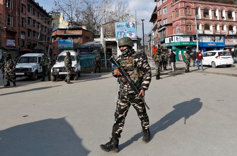 Indian security forces personnel patrol a street in Srinagar January 10, 2020. — Reuters pic