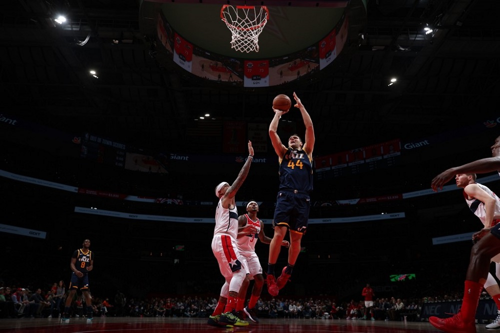 Bojan Bogdanovic (44) of the Utah Jazz shoots the ball against the Washington Wizards at Capital One Arena in Washington January 12, 2020. — Picture by NBAE Ned DishmanNBAE via Getty ImagesAFP