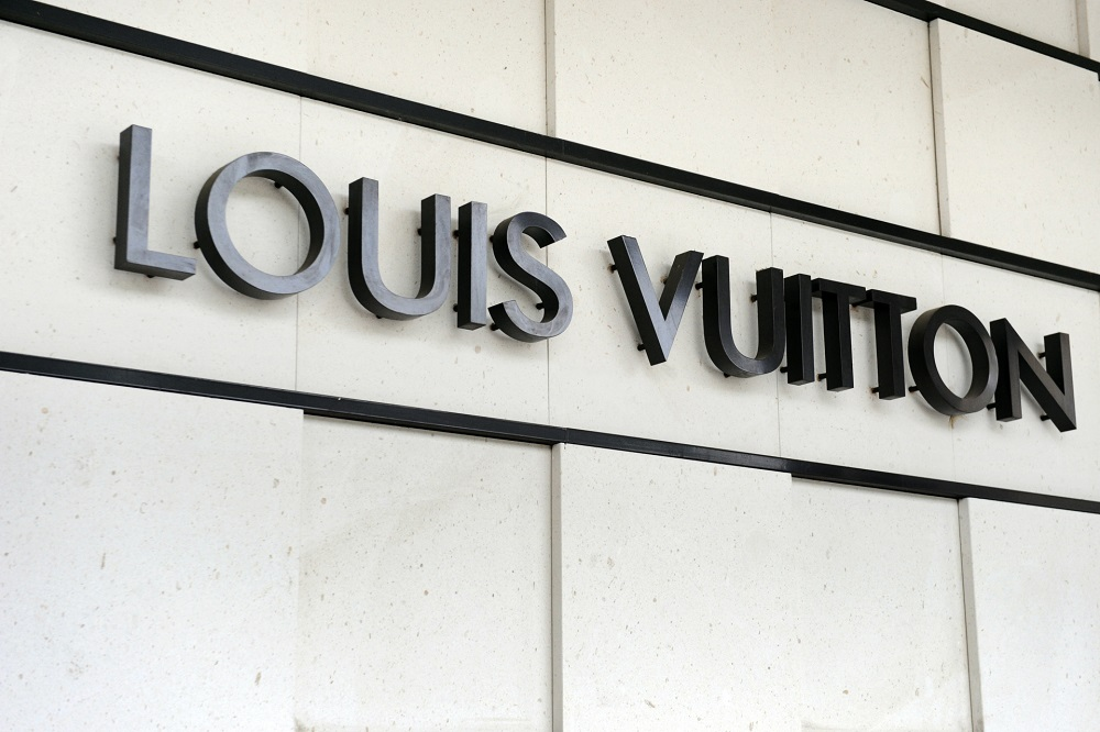 The logo of the French handbags company Louis Vuitton, part of the world's biggest luxury group LVMH. — AFP pic