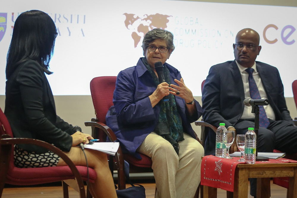 Former Switzerland president Ruth Dreifuss (centre) speaks during the Drug Policy Reform discussion at Universiti Malaya in Kuala Lumpur January 30, 2020. — Picture by Yusof Mat Isa