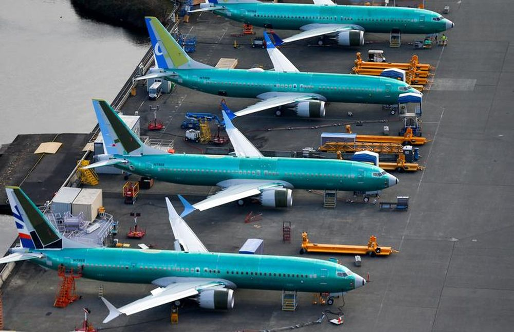 An aerial photo shows Boeing 737 MAX airplanes parked at the Boeing Factory in Renton, Washington, US, March 21, 2019. — Reuters pic