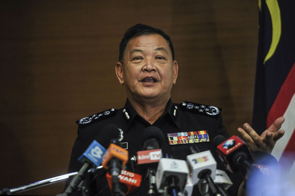 Inspector-General of Police Tan Sri Abdul Hamid Bador speaks during a press conference in Kuala Lumpur January 13, 2020. — Picture by Shafwan Zaidon