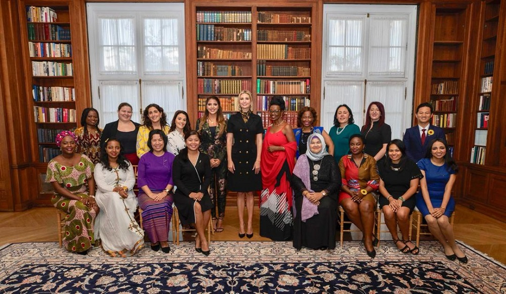 Anja (seated, fourth from right) and 17 others were invited to the White House in September 2019 by US President Donald Trump's senior advisor Ivanka Trump. — Picture courtesy of Anja Juliah Abu Bakar