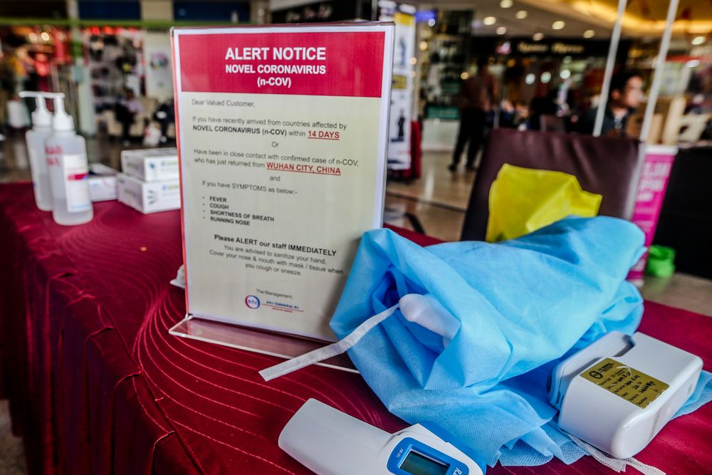 A coronavirus alert notice is seen at the entrance of KPJ Tawakkal, Kuala Lumpur January 28, 2020. — Picture by Firdaus Latif