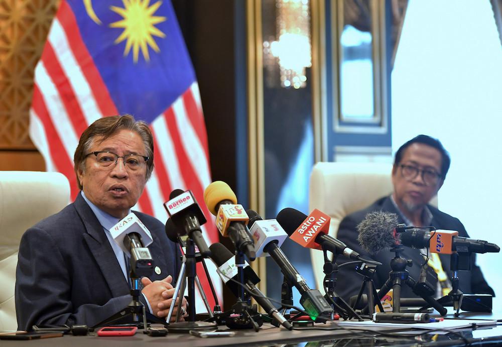 Sarawak Chief Minister Datuk Patinggi Abang Johari Openg said today the time has not come yet for him to call for the Sarawak state election. — Bernama pic