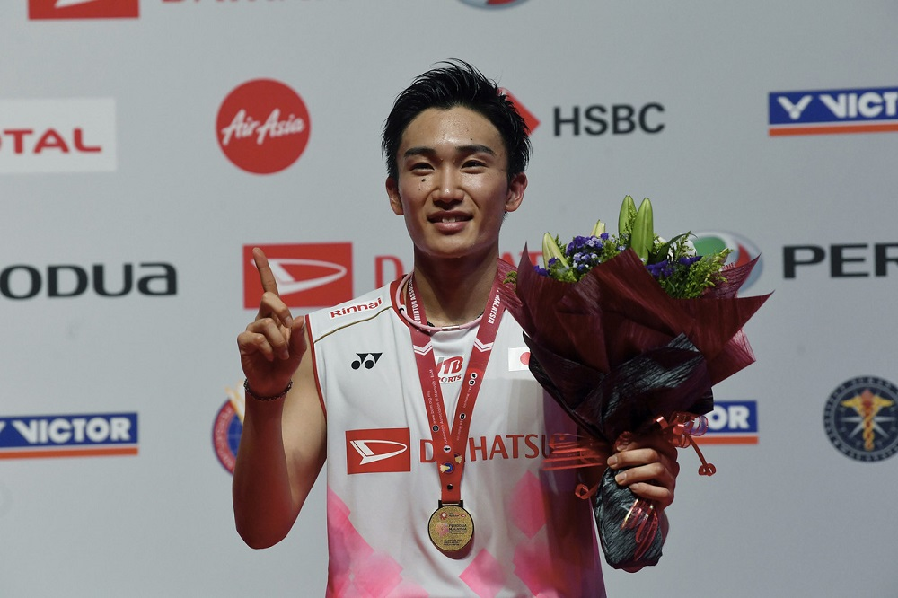 Japan's Kento Momota poses for a picture after winning the 2020 Malaysia Masters in Kuala Lumpur January 12, 2020. — Bernama pic