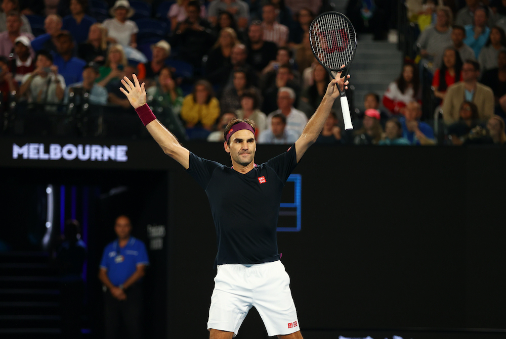 Switzerland's Roger Federer celebrates after his match against Australia's John Millman at the Australian Open in Melbourne Park in Melbourne, January 25, 2020. — Reuters