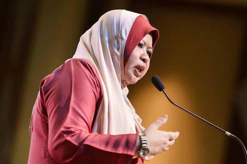 Datuk Seri Rina Harun said that based on the previous monthly household income of RM980, the Welfare Department had allocated RM1.53 billion a year to be channelled to more than 500,000 eligible recipients. — Picture by Miera Zulyana