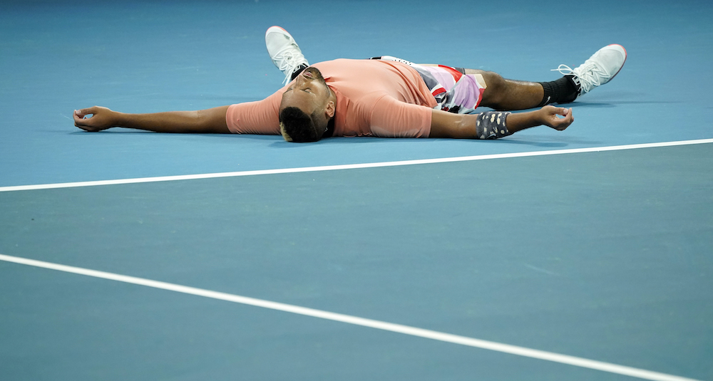 Australia's Nick Kyrgios celebrates after his match against Russia's Karen Khachanov at the Australian Open in Melbourne Park, Melbourne, January 25, 2020. — Reuters pic