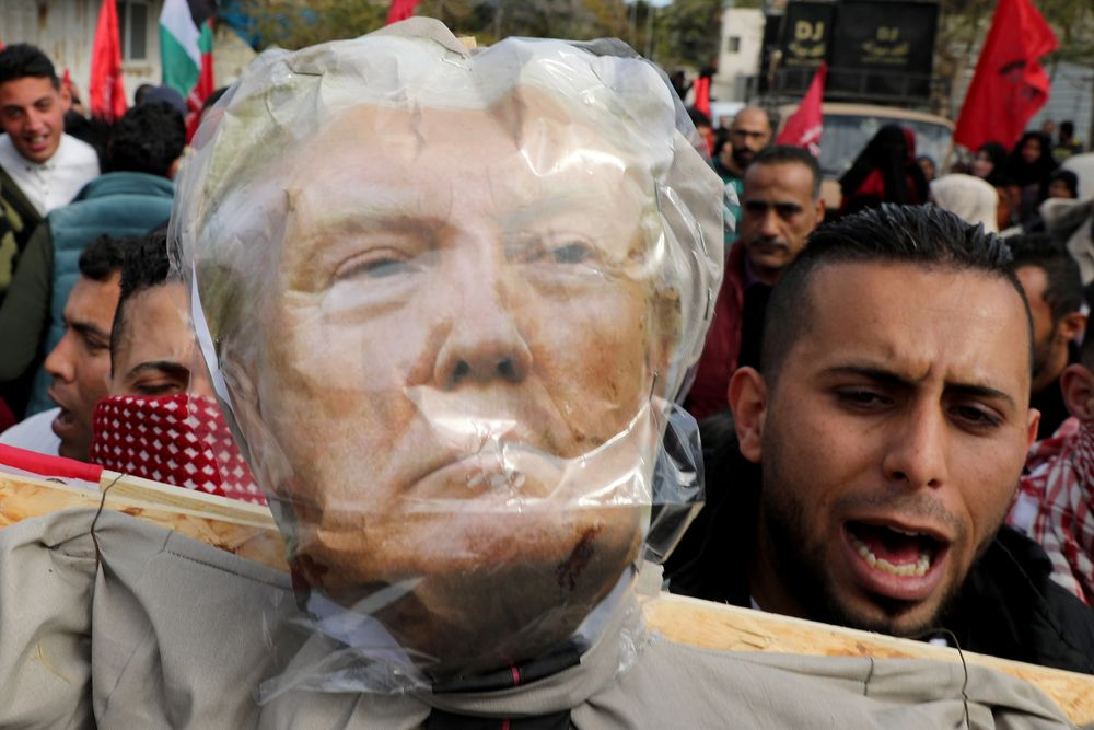 An effigy depicting US President Donald Trump is seen before it is set on fire by Palestinian demonstrators during a protest against the US Middle East peace plan, in Gaza City January 27, 2020. — Reuters pic