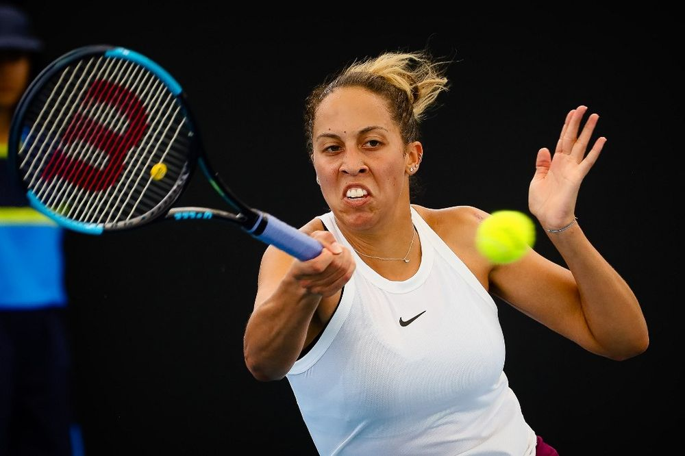 Madison Keys of the US hits a return to Marie Bouzkova of the Czech Republic during the women's singles match on day two of the Brisbane International tennis tournament in Brisbane on January 7, 2020. — AFP pic