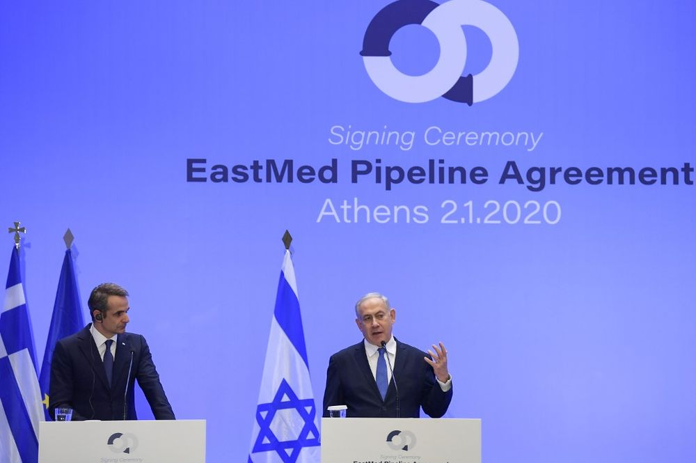 Israel's Prime Minister Benjamin Netanyahu (right) speaks during a press conference with Greek Prime Minister Kyriakos Mitsotakis in Athens on January 2, 2020. — AFP pic