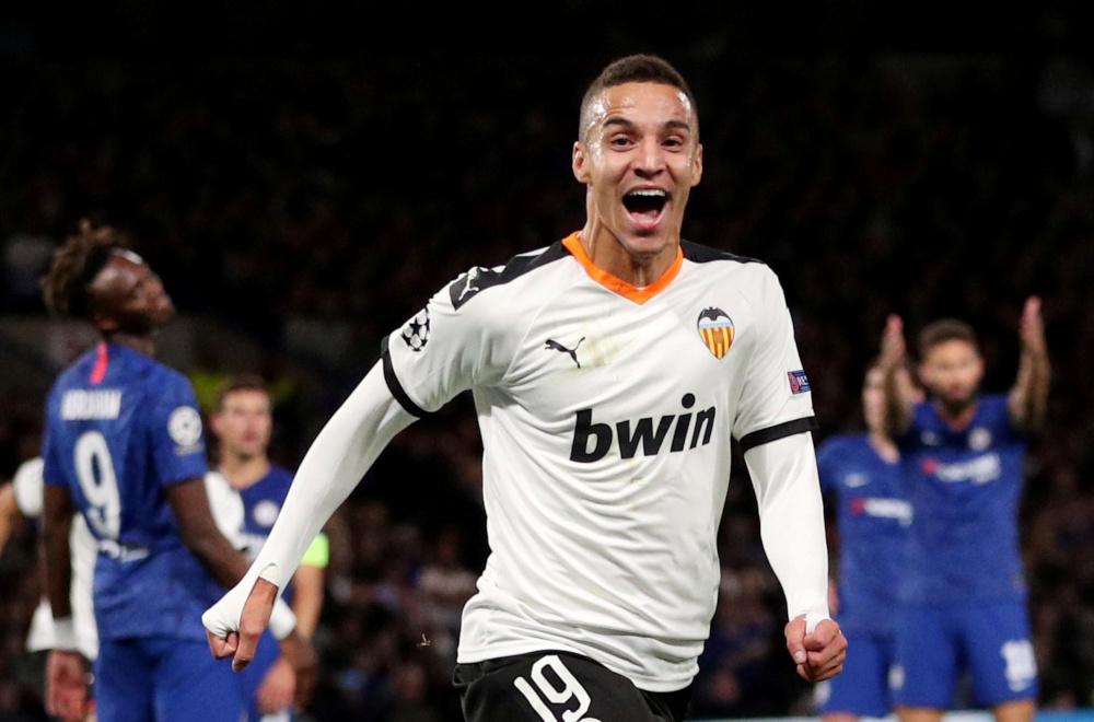 Valencia's Rodrigo Moreno celebrates scoring their first goal against Chelsea at Stamford Bridge, London September 17, 2019. — Reuters pic